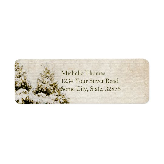 Winter Evergreens Vintage Address Label