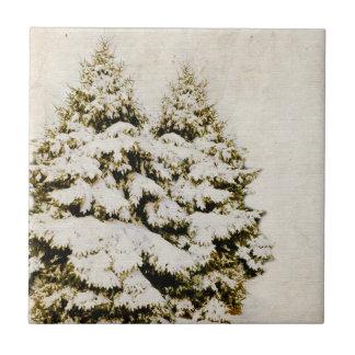 Winter Evergreens Vintage Tile