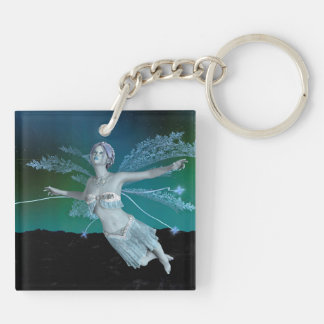 Winter Fairy Double-Sided Square Acrylic Keychain