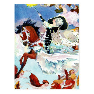Winter Fairy Riding a Flying Horse Postcard