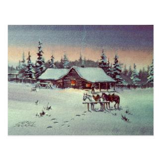 WINTER FARM  by SHARON SHARPE Postcard