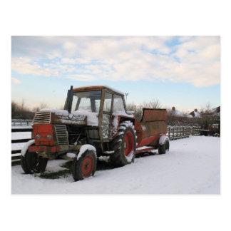 Winter farm in snow postcard
