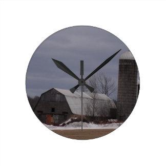 Winter Farm Land Wallclock