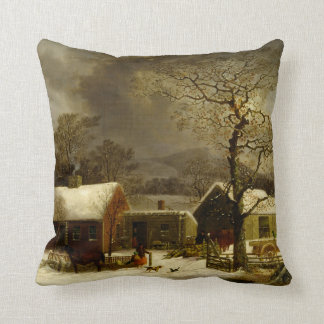 Winter Farm Painting by George Durrie Throw Pillow