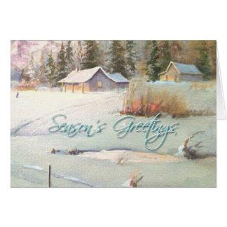 WINTER FARM & POND by SHARON SHARPE Card