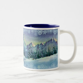 WINTER FARM & SNOWFLAKES by SHARON SHARPE Two-Tone Coffee Mug