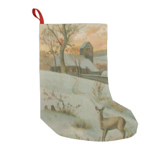 Winter Field Deer Church Snow Small Christmas Stocking