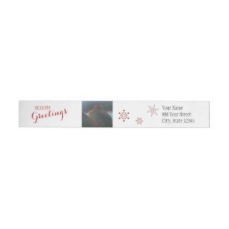 Winter Finches Seasons Greeting | Wraparound Label