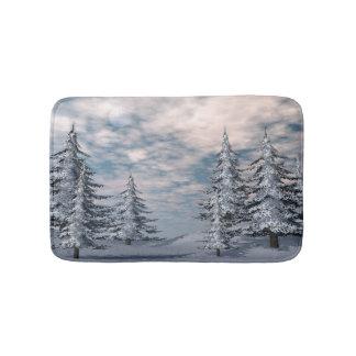 Winter fir trees landscape bath mat