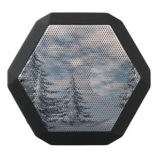 Winter fir trees landscape black bluetooth speaker