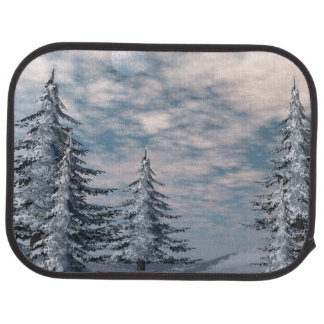 Winter fir trees landscape car mat