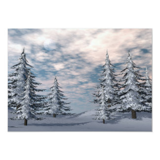 Winter fir trees landscape card