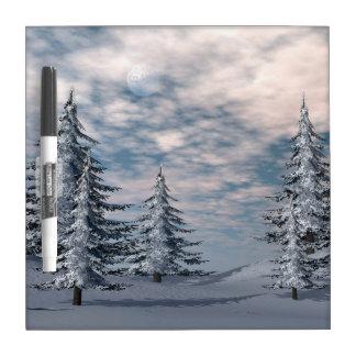 Winter fir trees landscape dry erase board