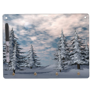 Winter fir trees landscape dry erase board with keychain holder