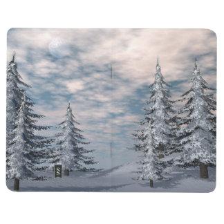 Winter fir trees landscape journal