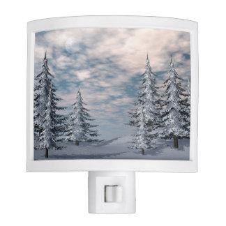 Winter fir trees landscape nite light