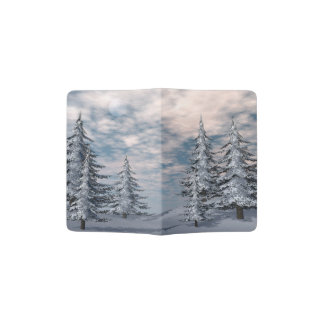 Winter fir trees landscape passport holder