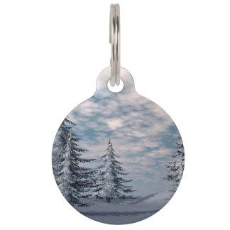 Winter fir trees landscape pet tag