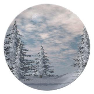 Winter fir trees landscape plates