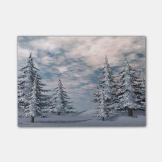 Winter fir trees landscape post-it® notes