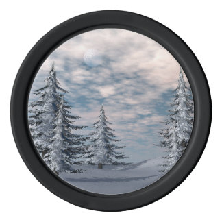 Winter fir trees landscape set of poker chips