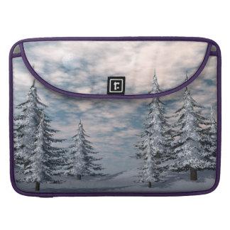 Winter fir trees landscape sleeve for MacBooks
