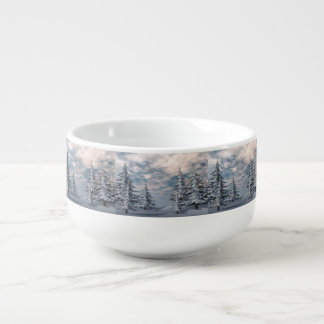 Winter fir trees landscape soup mug