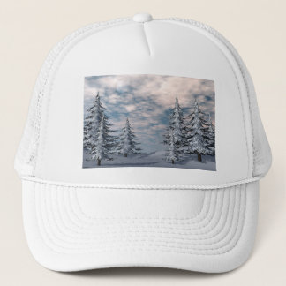Winter fir trees landscape trucker hat