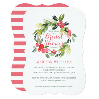 Winter Floral Watercolor Wreath | Bridal Shower Card