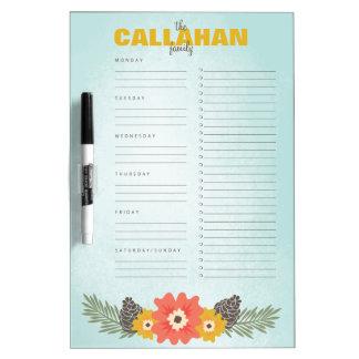Winter Floral Weekly Calendar + Checklist Dry-Erase Board