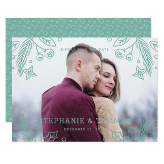 Winter Flourish Save the Date Card - Pool