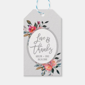 "Winter Flower Wreath ""Love & Thanks"" Favor Tags"