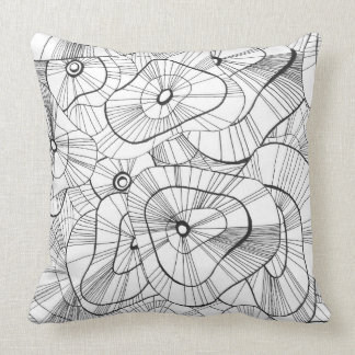 Winter flowers large pattern throw pillow