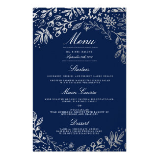 Winter Flowers Wedding Dinner Menu