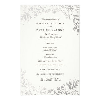 Winter Flowers Wedding Program