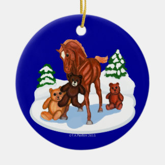 Winter Foal and Teddy Bears Holiday Ornament