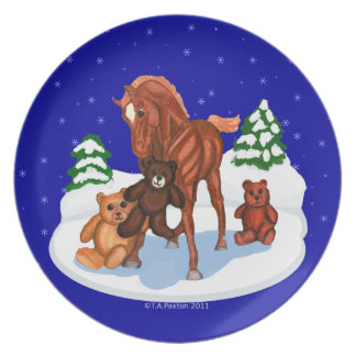 Winter Foal and Teddy Bears Plate