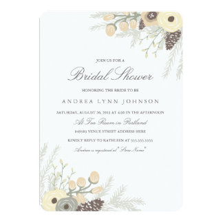 Winter Foliage Bridal Shower Invitation