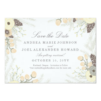 Winter Foliage Wedding Save the Date Card