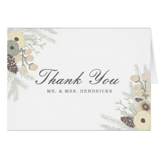 Winter Foliage Wedding Thank You Note Card