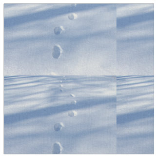 Winter Footprints in the Snow Fabric