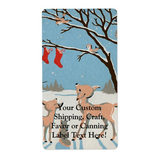 Winter Forest Animals Shipping Label