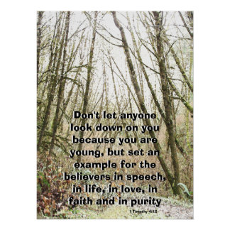 Winter Forest Called by God Scripture Print