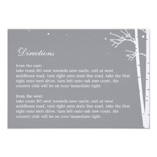 Winter Forest Directions Card Announcement