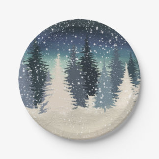 Winter Forest- Let it snow 7 Inch Paper Plate