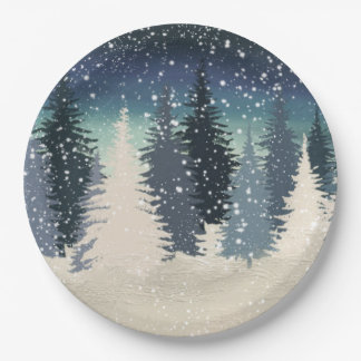 Winter Forest- Let it snow Paper Plate