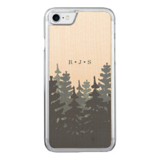 Winter Forest Monogrammed Carved iPhone 8/7 Case