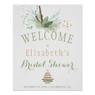 Winter forest natural watercolor bridal shower poster