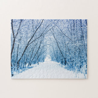 Winter Forest Path Jigsaw Puzzle