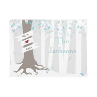 Winter Forest Personalized Doormat - Blue